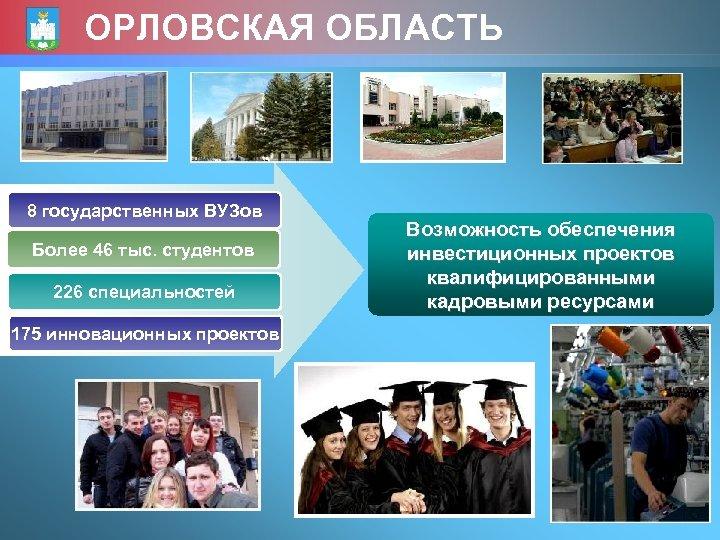 ОРЛОВСКАЯ ОБЛАСТЬ 8 государственных ВУЗов Более 46 тыс. студентов 226 специальностей Возможность обеспечения инвестиционных