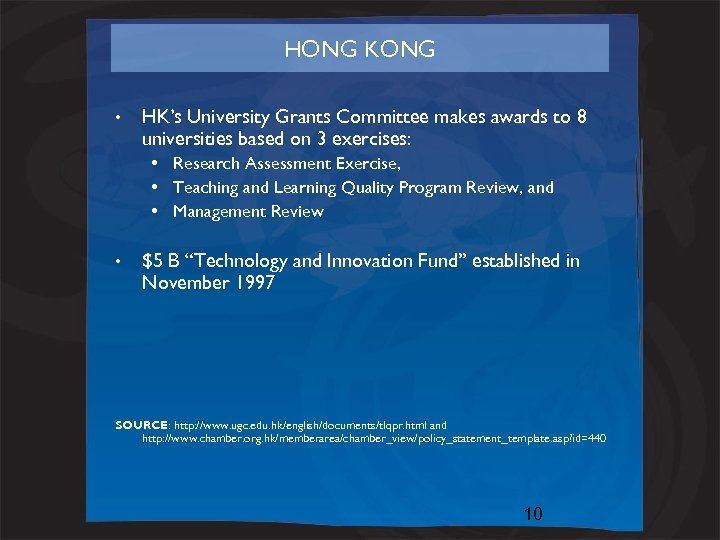 HONG KONG • HK's University Grants Committee makes awards to 8 universities based on