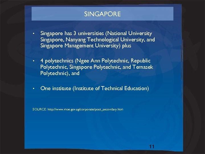 SINGAPORE • Singapore has 3 universities (National University Singapore, Nanyang Technological University, and Singapore