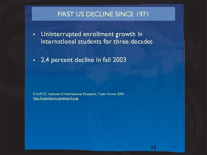 FIRST US DECLINE SINCE 1971 • Uninterrupted enrollment growth in international students for three