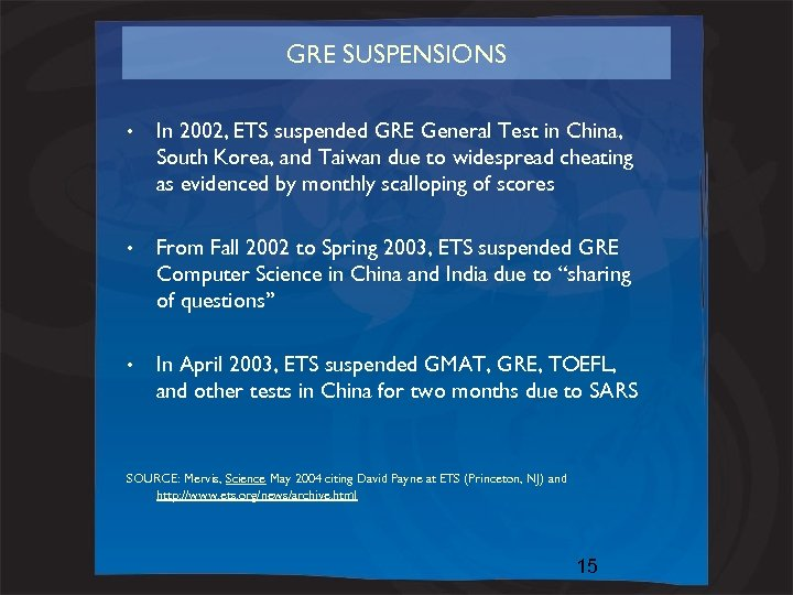 GRE SUSPENSIONS • In 2002, ETS suspended GRE General Test in China, South Korea,
