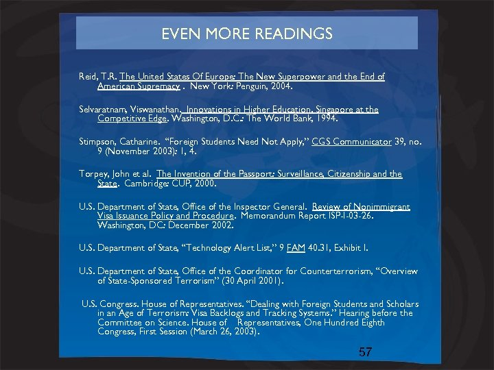 EVEN MORE READINGS Reid, T. R. The United States Of Europe: The New Superpower
