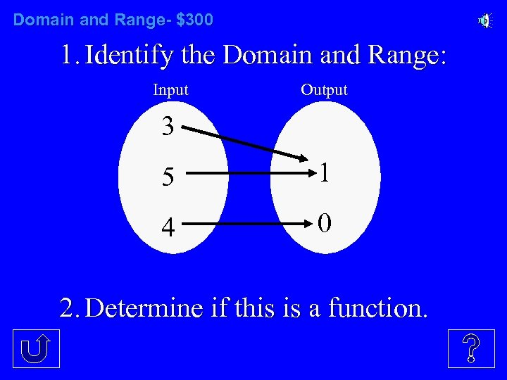 Domain and Range- $300 1. Identify the Domain and Range: Input Output 3 5