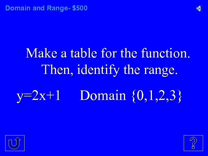 Domain and Range- $500 Make a table for the function. Then, identify the range.