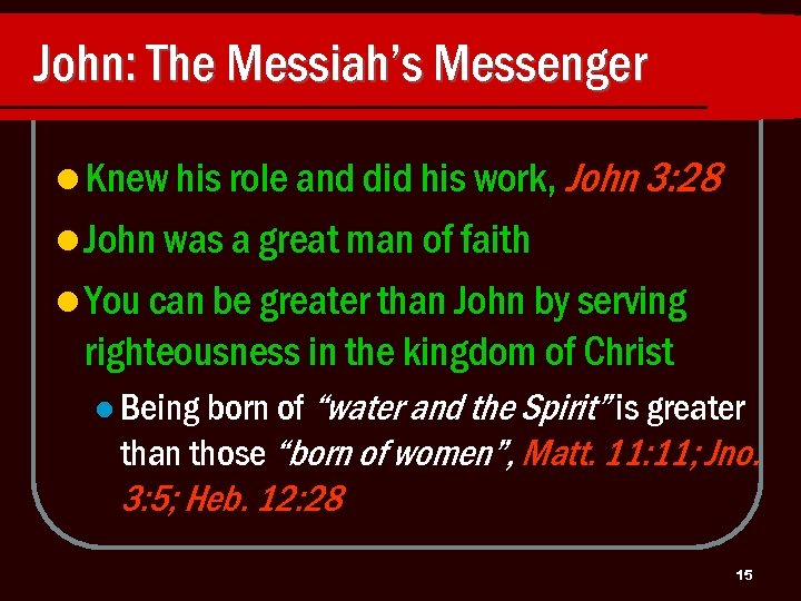John: The Messiah's Messenger l Knew his role and did his work, John 3: