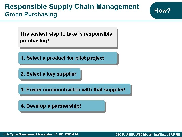 Responsible Supply Chain Management Green Purchasing How? The easiest step to take is responsible