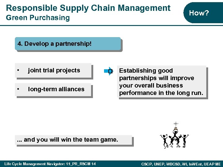 Responsible Supply Chain Management Green Purchasing How? 4. Develop a partnership! • joint trial