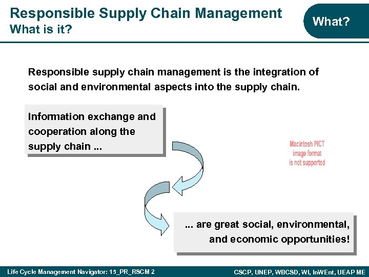 Responsible Supply Chain Management What is it? What? Responsible supply chain management is the