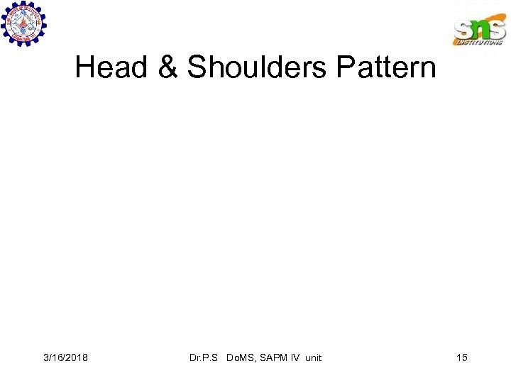 Head & Shoulders Pattern 3/16/2018 Dr. P. S Do. MS, SAPM IV unit 15