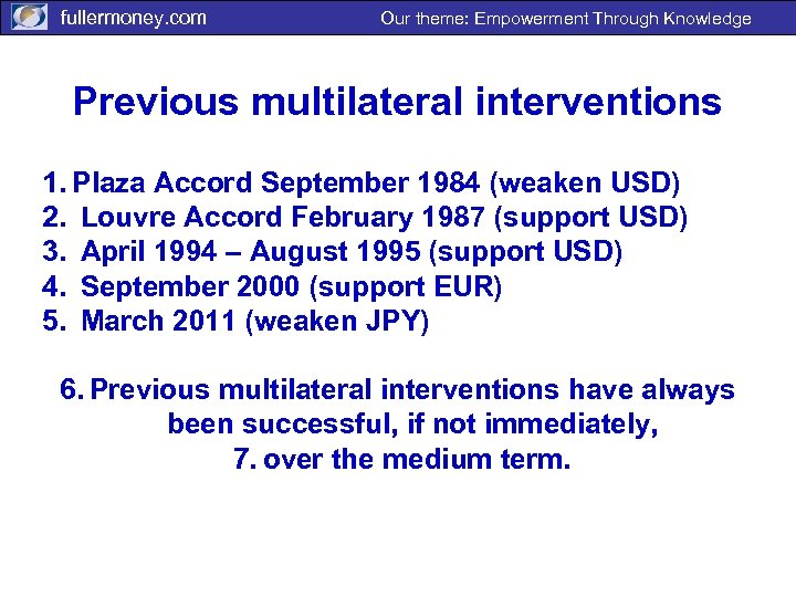 fullermoney. com Our theme: Empowerment Through Knowledge Previous multilateral interventions 1. Plaza Accord September