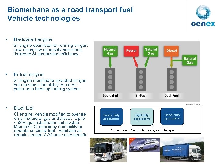 Biomethane as a road transport fuel Vehicle technologies • Dedicated engine SI engine optimised