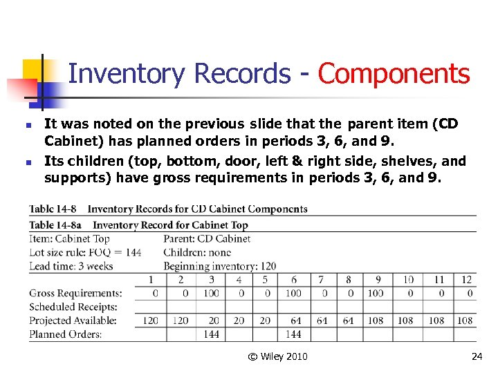 Inventory Records - Components n n It was noted on the previous slide that