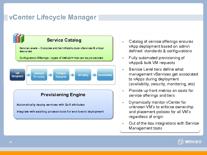 v. Center Lifecycle Manager Service Catalog § Catalog of service offerings ensures v. App