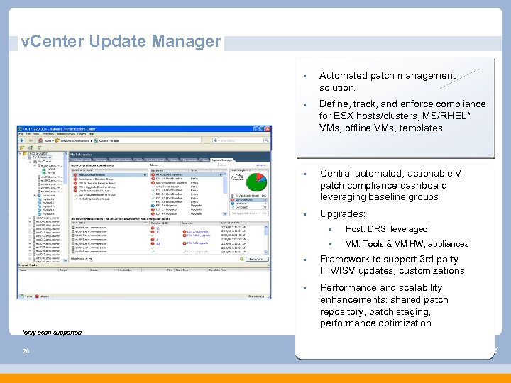 v. Center Update Manager § Automated patch management solution. § Define, track, and enforce