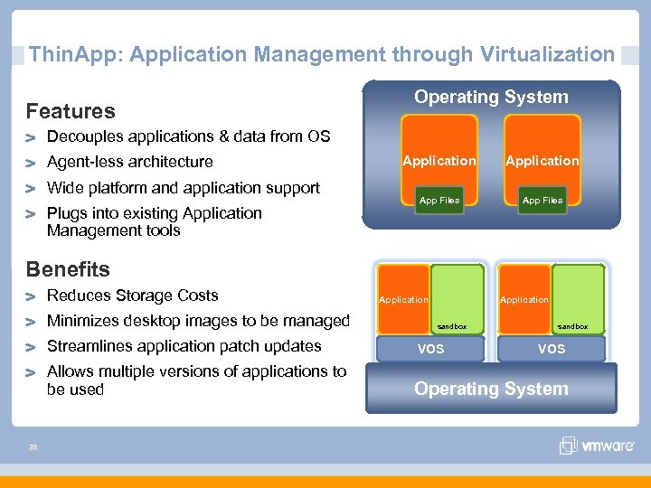 Thin. App: Application Management through Virtualization Features Operating System Decouples applications & data from