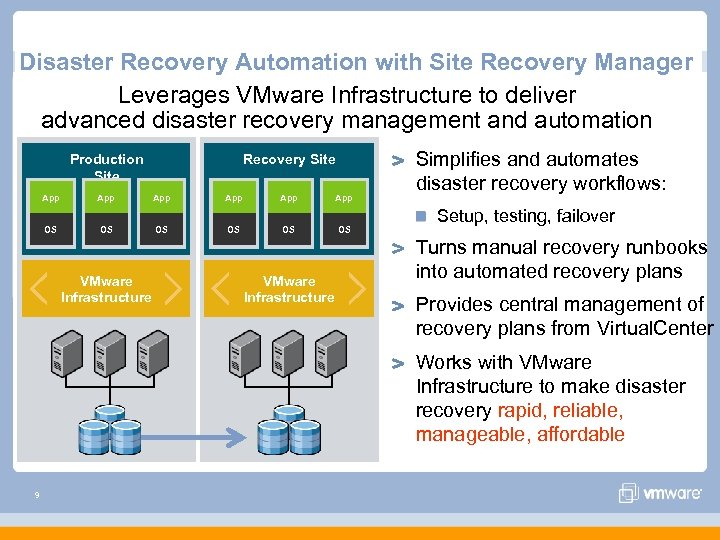 Disaster Recovery Automation with Site Recovery Manager Leverages VMware Infrastructure to deliver advanced disaster