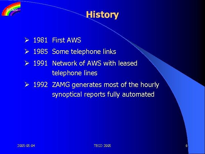 History Ø 1981 First AWS Ø 1985 Some telephone links Ø 1991 Network of