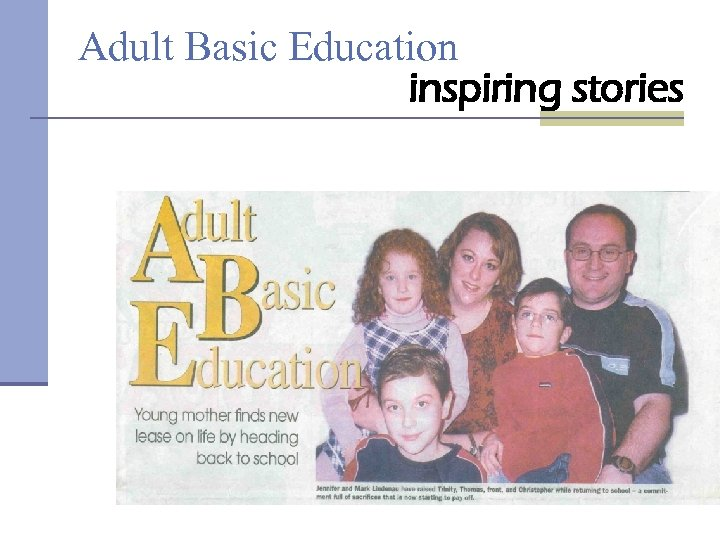Adult Basic Education inspiring stories