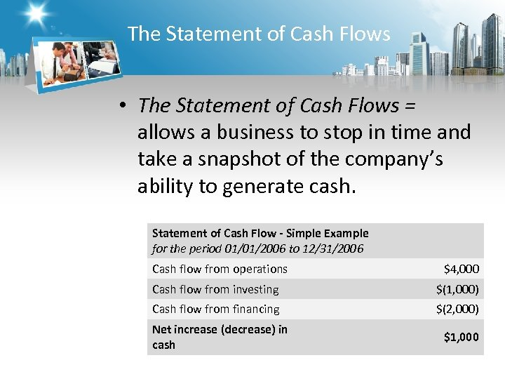 The Statement of Cash Flows • The Statement of Cash Flows = allows a
