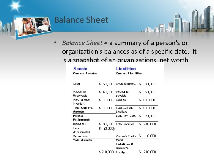 Balance Sheet • Balance Sheet = a summary of a person's or organization's balances