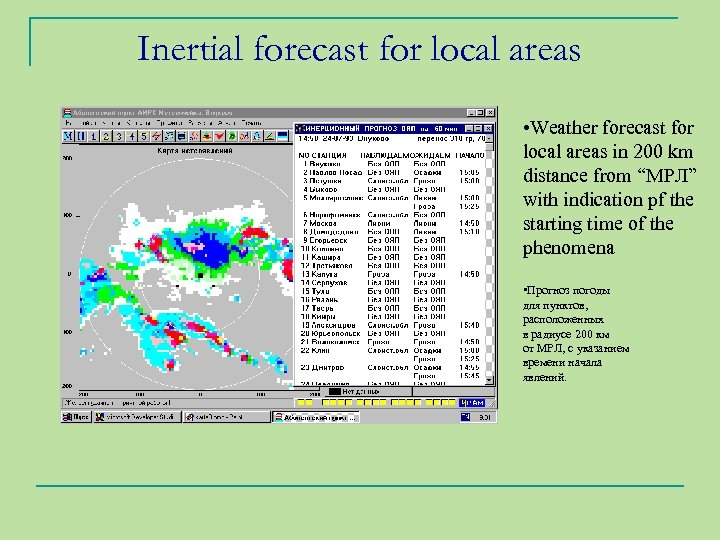 Inertial forecast for local areas • Weather forecast for local areas in 200 km