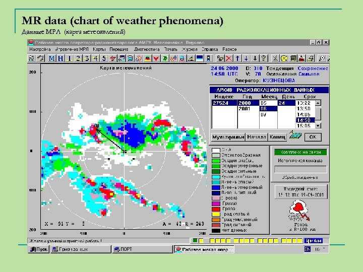 MR data (chart of weather phenomena) Данные МРЛ (карта метеоявлений)