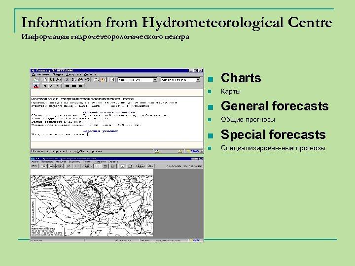 Information from Hydrometeorological Centre Информация гидрометеорологического центра n Charts n Карты n General forecasts