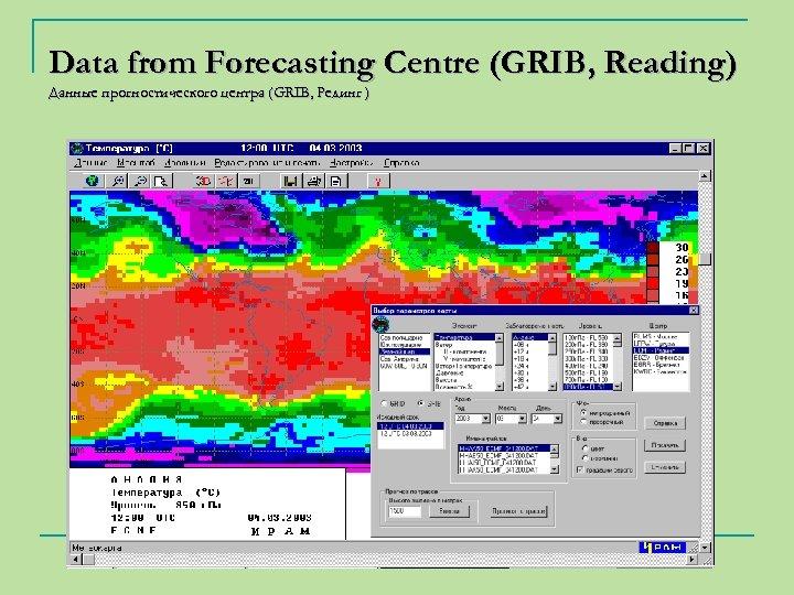Data from Forecasting Centre (GRIB, Reading) Данные прогностического центра (GRIB, Рединг )