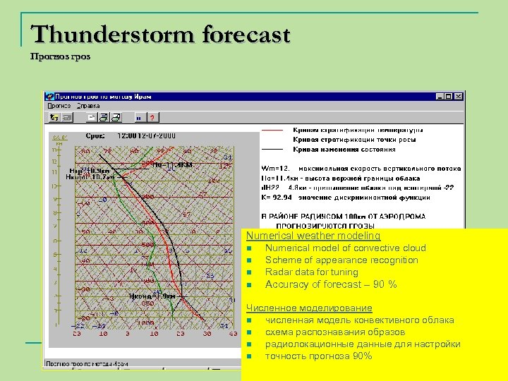 Thunderstorm forecast Прогноз гроз Numerical weather modeling n Numerical model of convective cloud Scheme