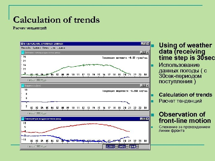 Calculation of trends Расчет тенденций n Using of weather data (receiving time step is