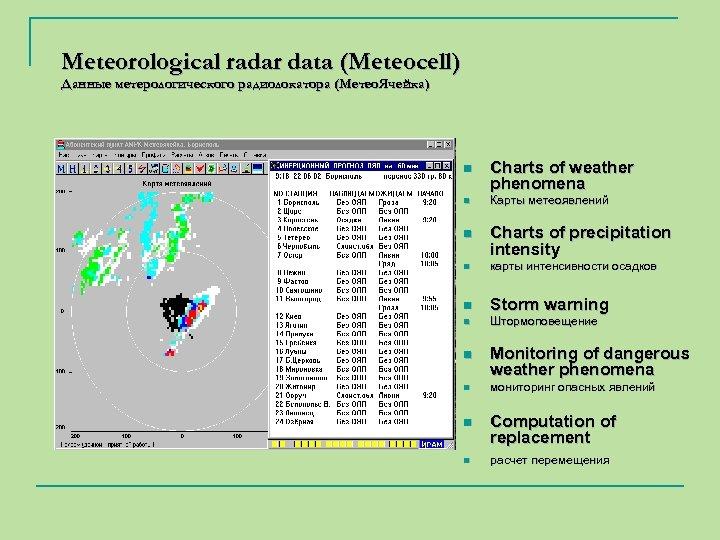 Meteorological radar data (Meteocell) Данные метерологического радиолокатора (Meтео. Ячейка) n n n Charts of