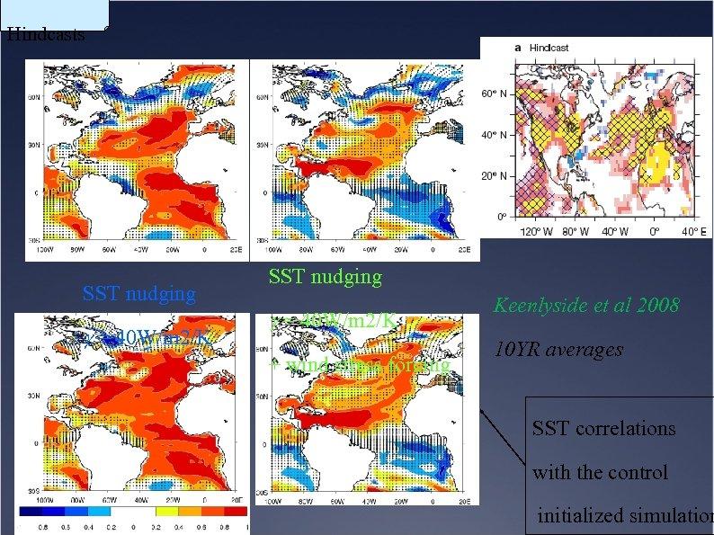 Hindcasts SST nudging g = 40 W/m 2/K + wind stress forcing Keenlyside et