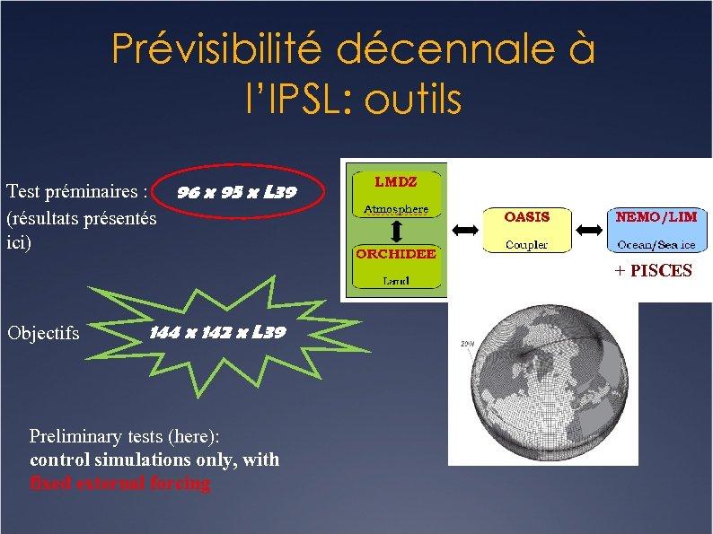 Prévisibilité décennale à l'IPSL: outils Test préminaires : 96 x 95 x L 39