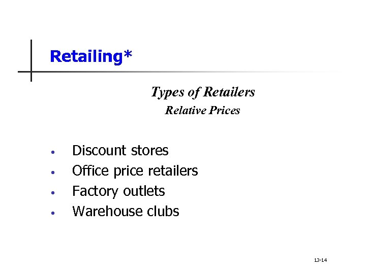 Retailing* Types of Retailers Relative Prices • • Discount stores Office price retailers Factory