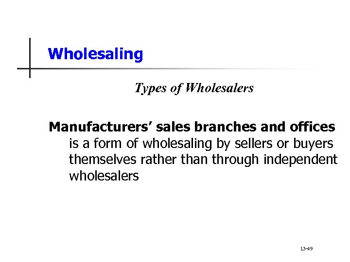 Wholesaling Types of Wholesalers Manufacturers' sales branches and offices is a form of wholesaling