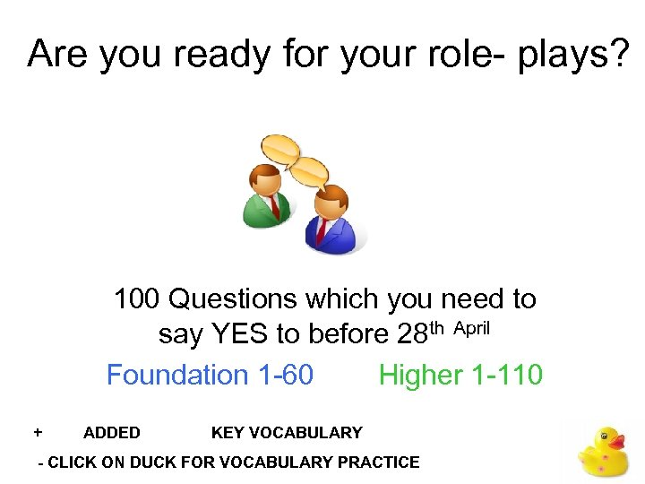 Are you ready for your role- plays? 100 Questions which you need to say