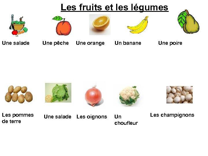 Les fruits et les légumes Une salade Une pêche Une orange Un banane Les