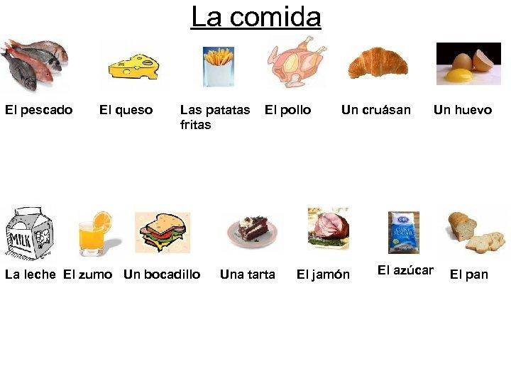La comida El pescado El queso Las patatas fritas La leche El zumo Un