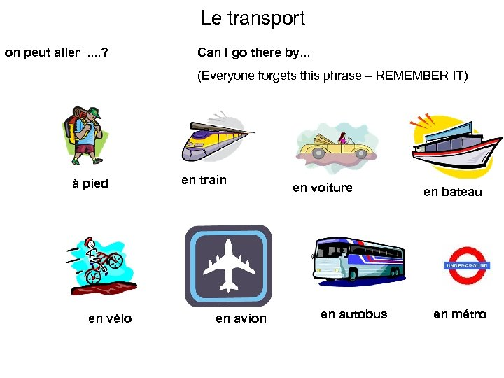 Le transport on peut aller. . ? Can I go there by. . .
