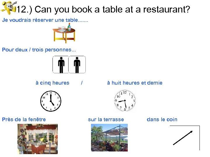 12. ) Can you book a table at a restaurant? Je voudrais réserver une