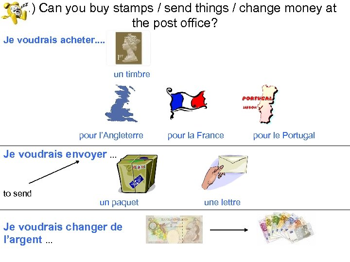 18. ) Can you buy stamps / send things / change money at the