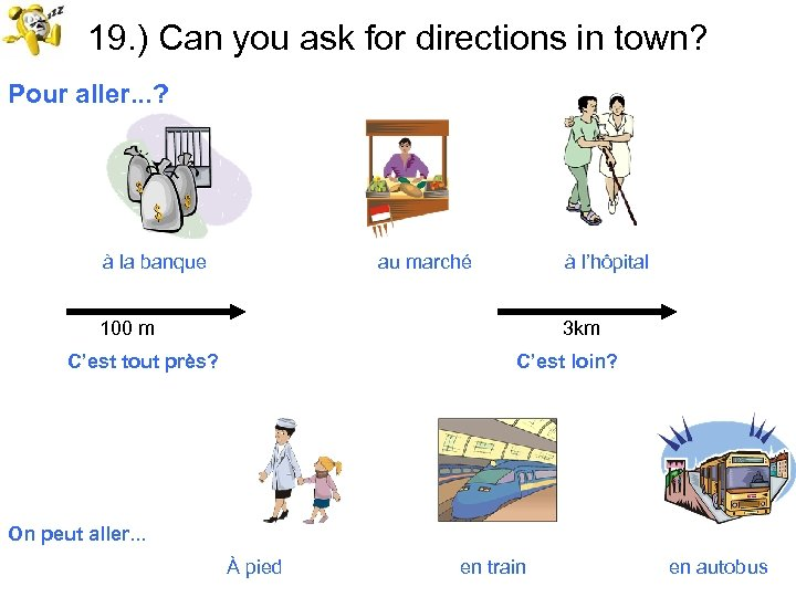 19. ) Can you ask for directions in town? Pour aller. . . ?