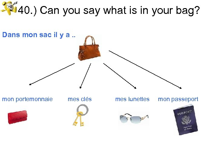 40. ) Can you say what is in your bag? Dans mon sac il