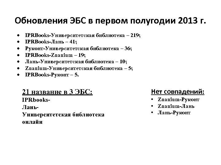 Обновления ЭБС в первом полугодии 2013 г. IPRBooks-Университетская библиотека – 219; IPRBooks-Лань – 41;