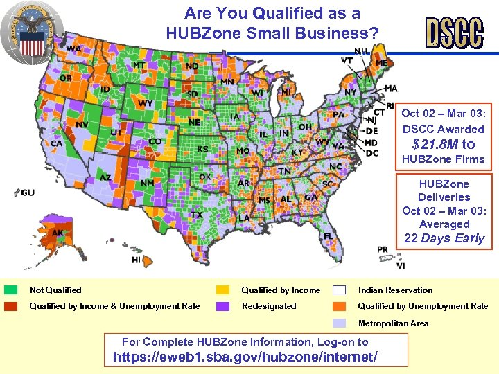 Are You Qualified as a HUBZone Small Business? Oct 02 – Mar 03: DSCC