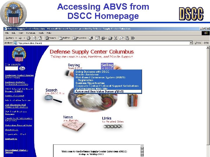 Accessing ABVS from DSCC Homepage