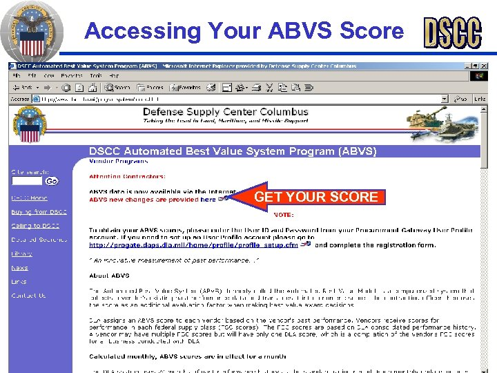 Accessing Your ABVS Score GET YOUR SCORE