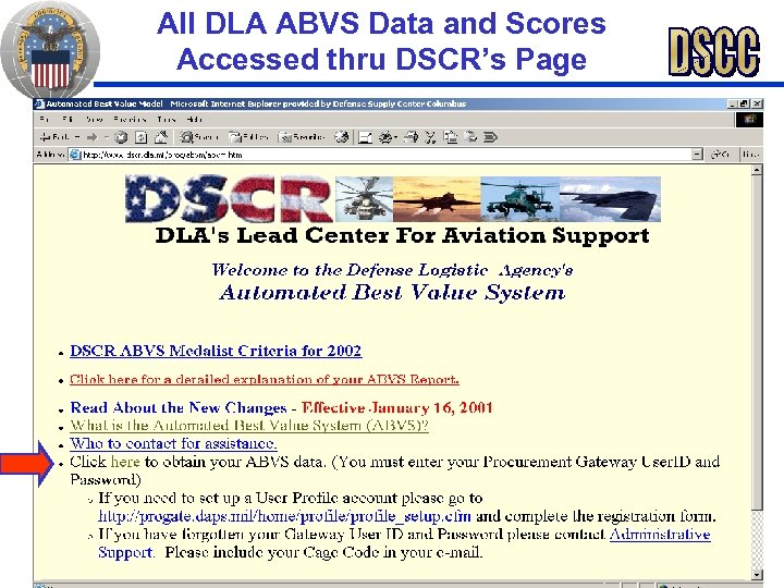 All DLA ABVS Data and Scores Accessed thru DSCR's Page