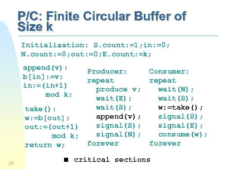 P/C: Finite Circular Buffer of Size k Initialization: S. count: =1; in: =0; N.