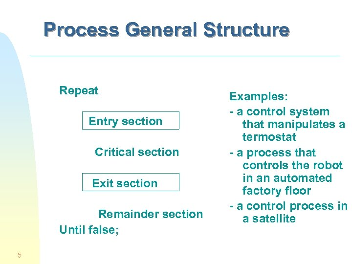 Process General Structure Repeat Entry section Critical section Exit section Remainder section Until false;